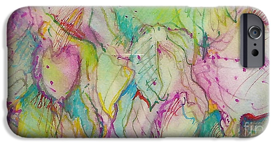 Abstract IPhone 6 Case featuring the painting Two Lips by Jan Bennicoff
