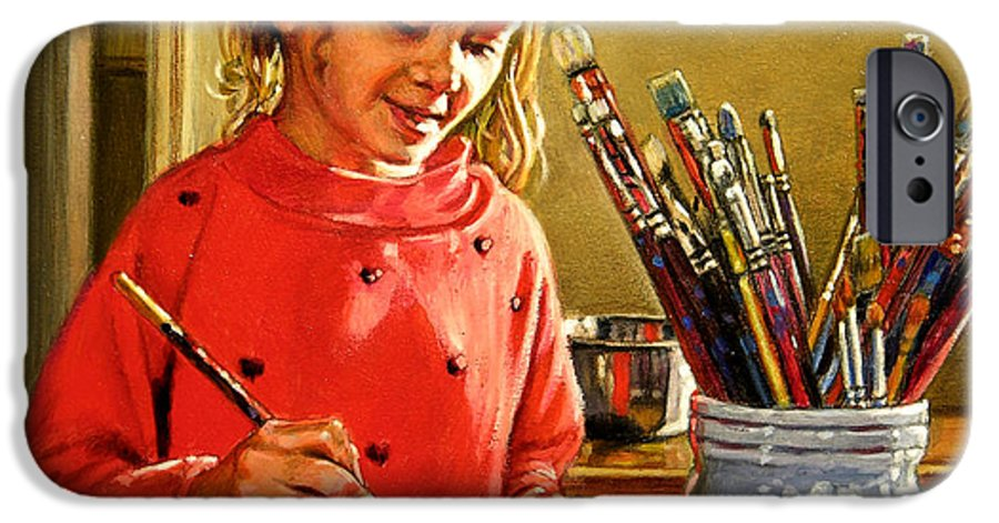 Young Girl Painting IPhone 6 Case featuring the painting Young Artist by John Lautermilch