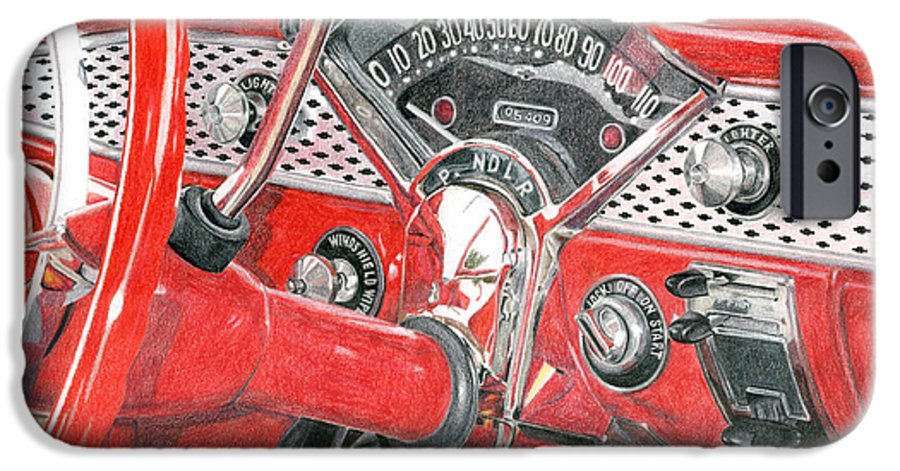 Classic IPhone 6 Case featuring the drawing 1955 Chevrolet Bel Air by Rob De Vries