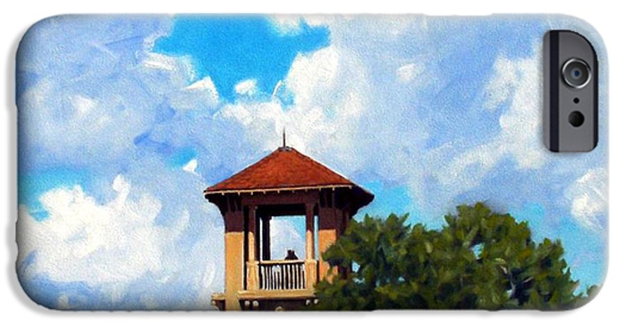Sky IPhone 6 Case featuring the painting Bell Tower by Kevin Lawrence Leveque
