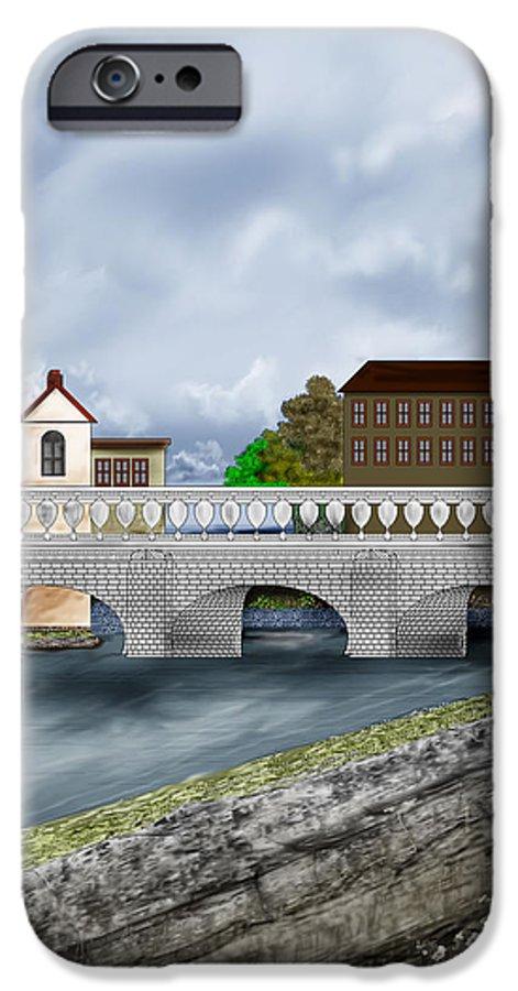 Galway Ireland Bridge IPhone 6 Case featuring the painting Bridge In Old Galway Ireland by Anne Norskog