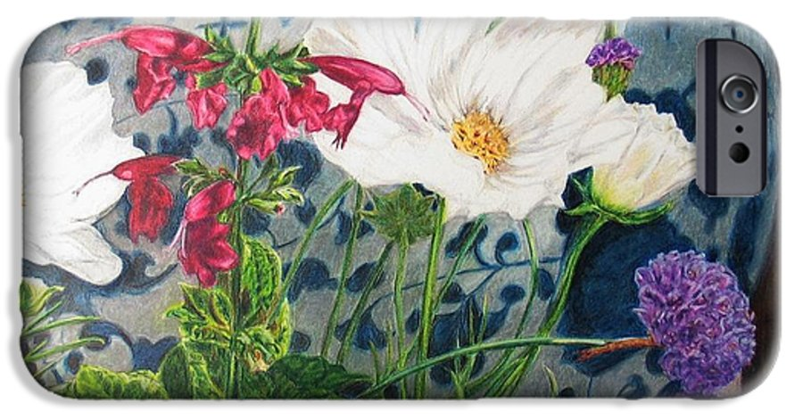 Flowers IPhone 6 Case featuring the painting Cosmos by Karen Ilari