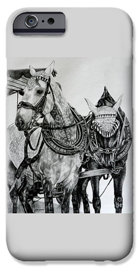 Horse Pencil Black White Germany Rothenburg IPhone 6 Case featuring the drawing 2 Horses Of Rothenburg 2000usd by Karen Bowden