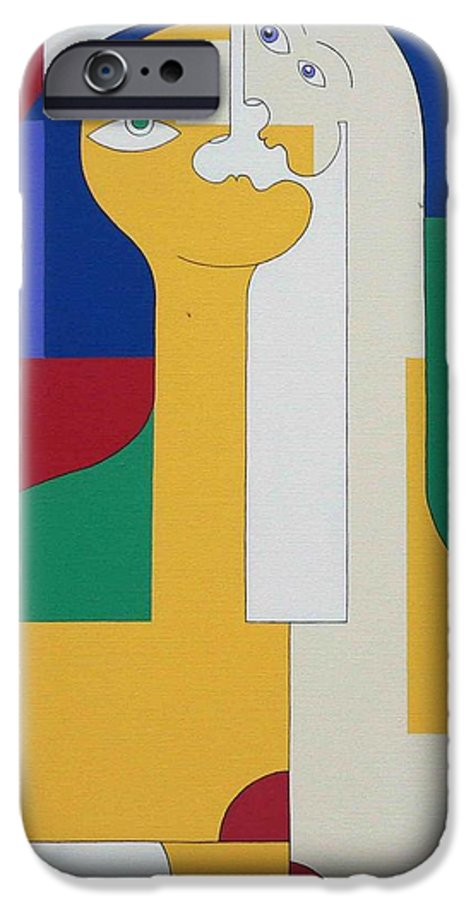 Modern Colors Women Humor IPhone 6 Case featuring the painting 2 In 1 by Hildegarde Handsaeme