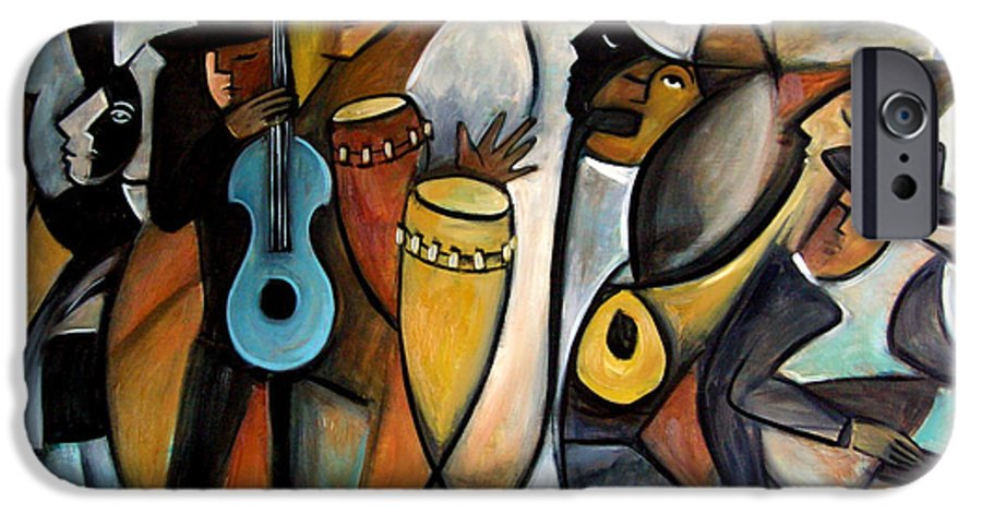 Latin Jazz Musicians IPhone 6 Case featuring the painting Jazzz by Valerie Vescovi
