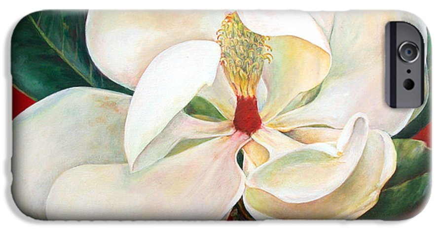 Floral Painting IPhone 6 Case featuring the painting Magnolia by Muriel Dolemieux