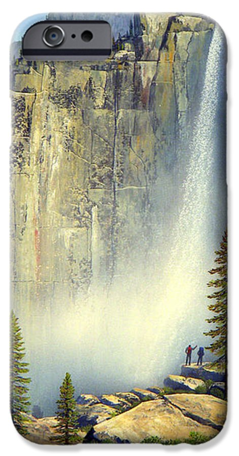 Landscape IPhone 6 Case featuring the painting Misty Falls by Frank Wilson