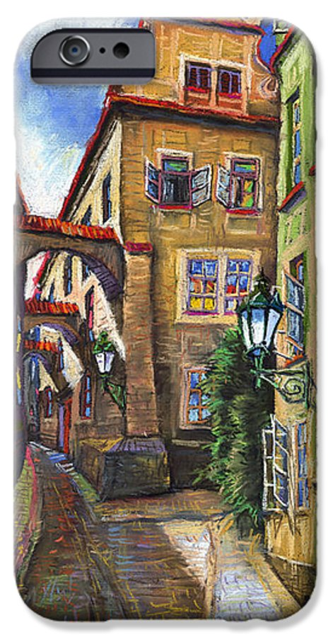 Prague IPhone 6 Case featuring the painting Prague Old Street by Yuriy Shevchuk