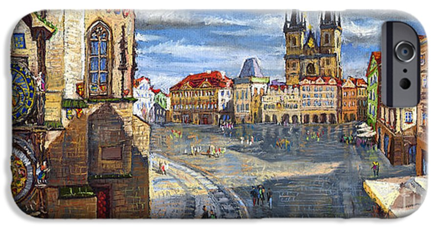 Pastel IPhone 6 Case featuring the painting Prague Old Town Squere by Yuriy Shevchuk