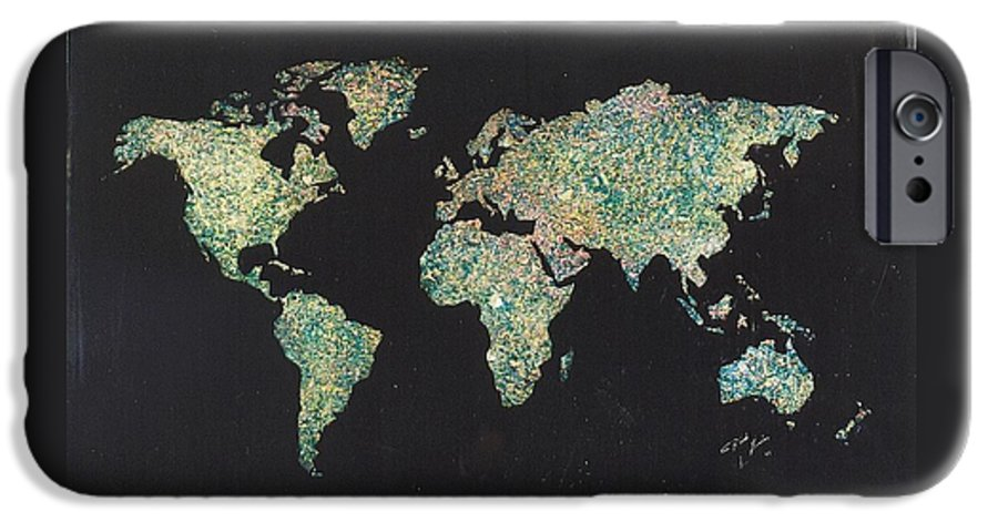 World Maps IPhone 6 Case featuring the painting Shattered World by Rick Silas