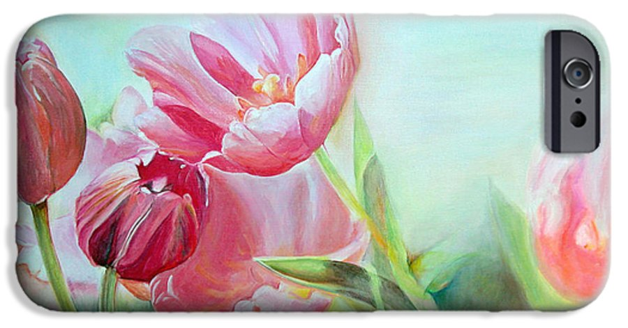 Floral Painting IPhone 6 Case featuring the painting Tulipes by Muriel Dolemieux