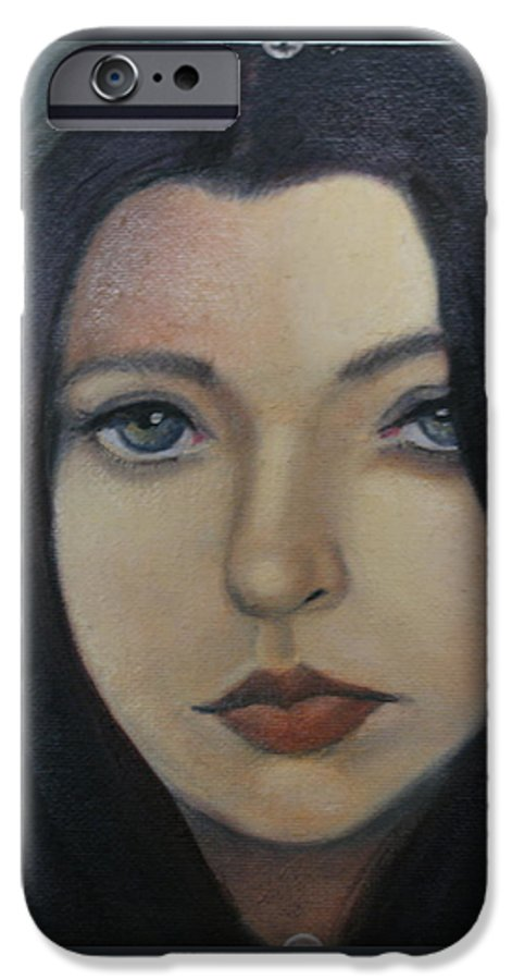 Girl IPhone 6 Case featuring the painting That Stare by Toni Berry