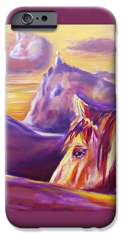 Horses IPhone 6 Case featuring the painting Horse World by Gina De Gorna