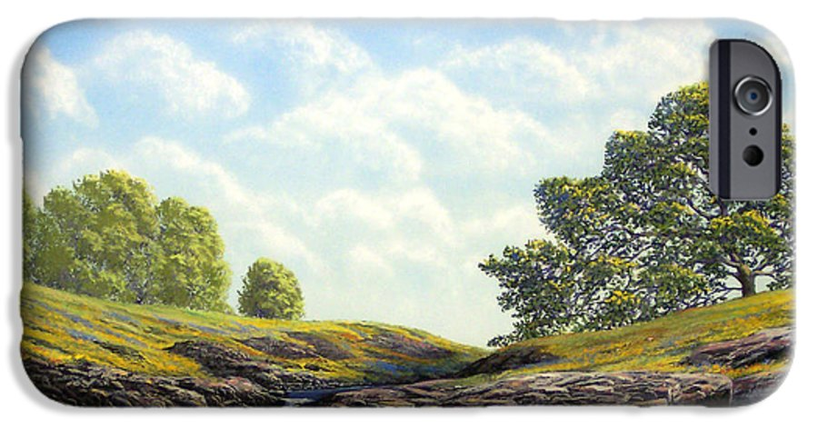 Landscape IPhone 6 Case featuring the painting Flowering Meadow by Frank Wilson