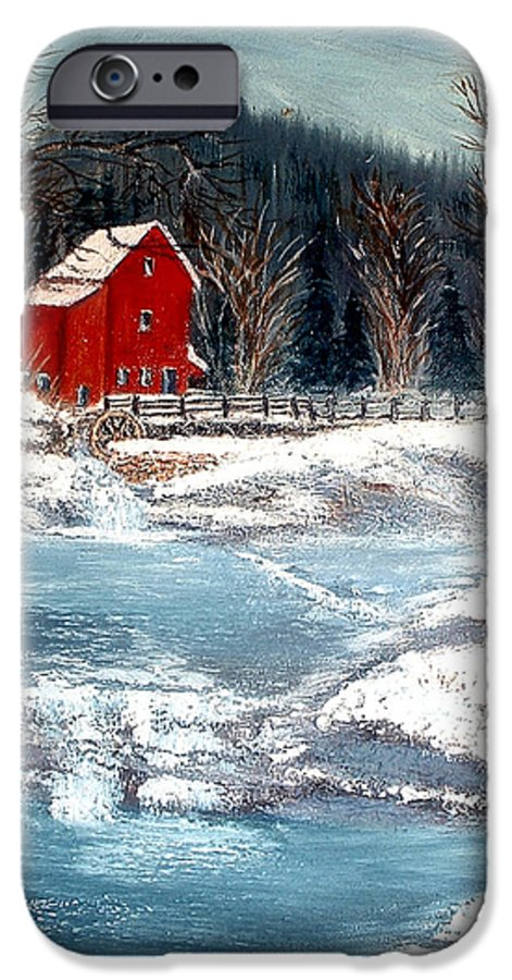 Landscape Mill Old Streem Creek IPhone 6 Case featuring the painting Old Mill by Kenneth LePoidevin
