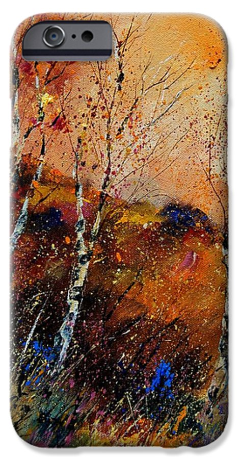 River IPhone 6 Case featuring the painting 3 Poplars by Pol Ledent