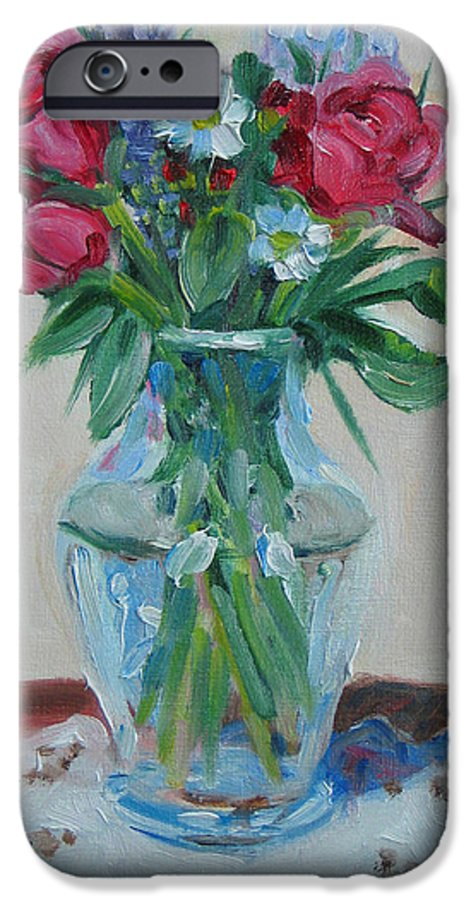 Roses IPhone 6 Case featuring the painting 3 Roses by Paul Walsh