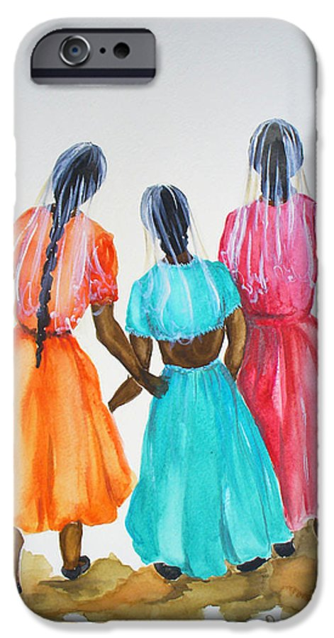 Three Ladies East Indian IPhone 6 Case featuring the painting 3bff by Karin Dawn Kelshall- Best