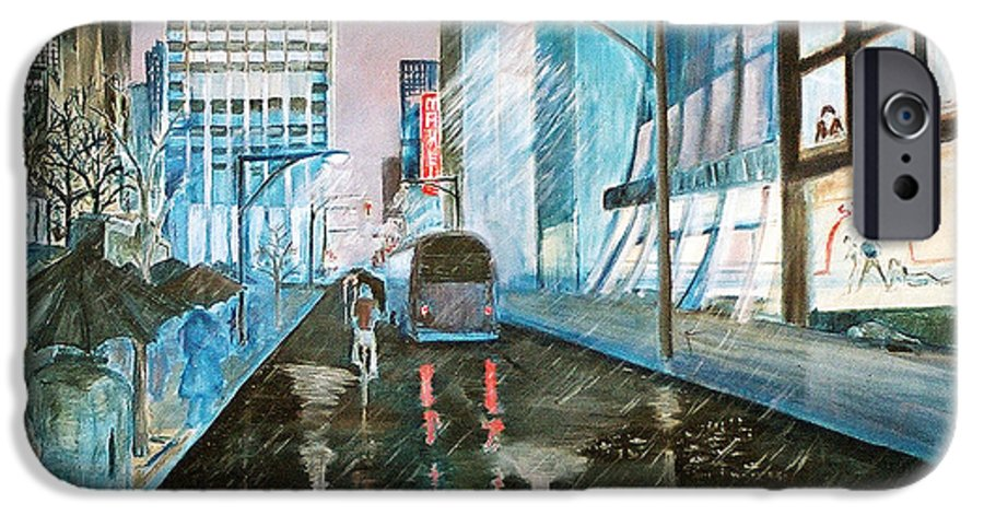 Street Scape IPhone 6 Case featuring the painting 42nd Street Blue by Steve Karol