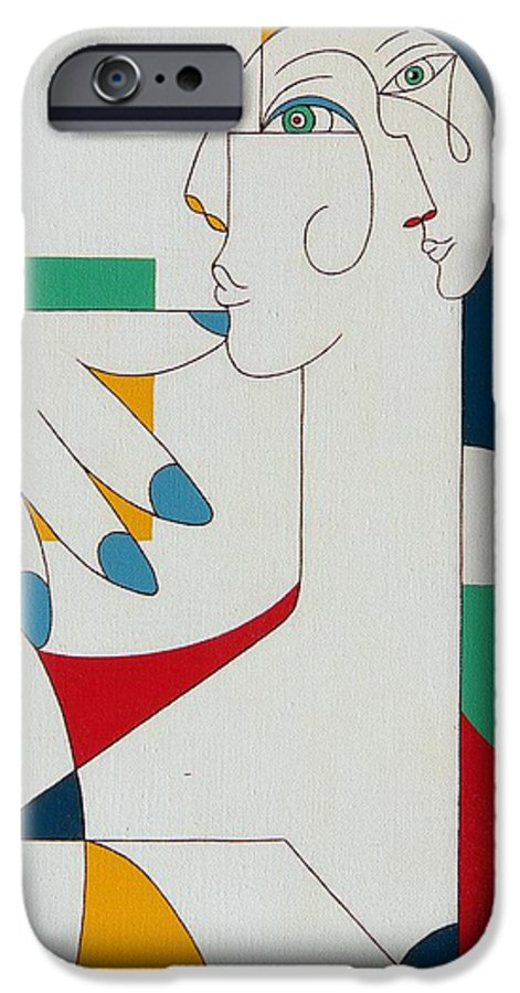 Portrait IPhone 6 Case featuring the painting 5 Fingers by Hildegarde Handsaeme