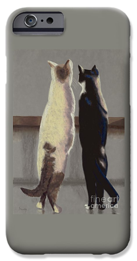 Cat IPhone 6 Case featuring the painting A Bird by Linda Hiller