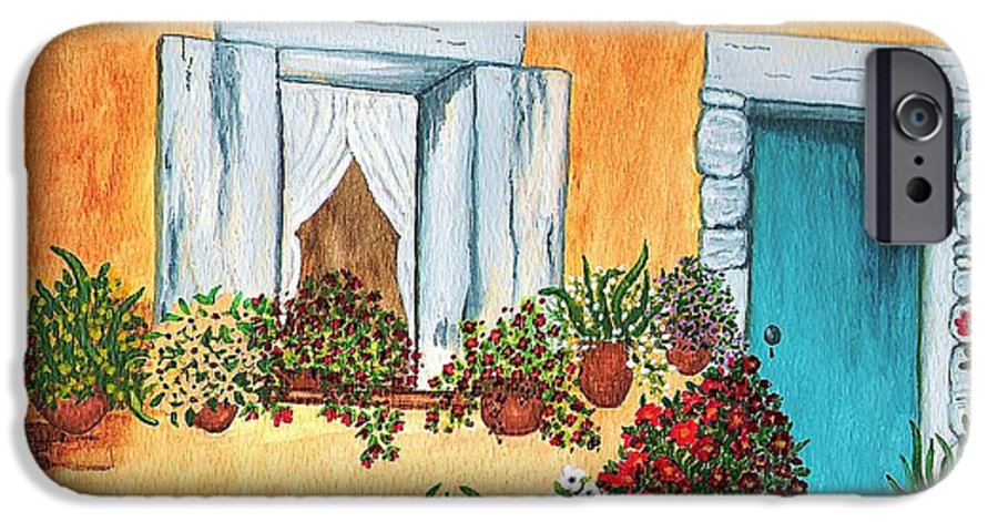 Watercolor Painting IPhone 6 Case featuring the painting A Cottage In The Village by Patricia Griffin Brett