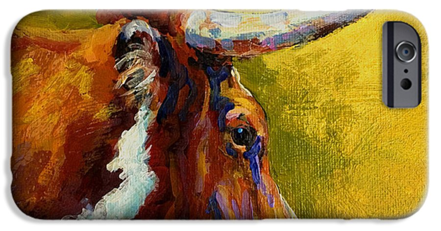 Western IPhone 6 Case featuring the painting A Couple Of Pointers - Longhorn Steer by Marion Rose