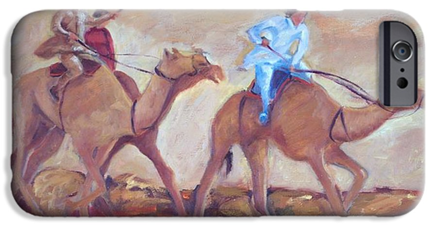 Figurative IPhone 6 Case featuring the painting A Day At The Camel Races by Ginger Concepcion