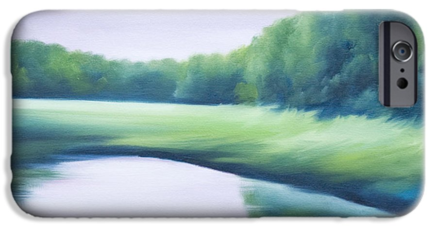 Nature; Lake; Sunset; Sunrise; Serene; Forest; Trees; Water; Ripples; Clearing; Lagoon; James Christopher Hill; Jameshillgallery.com; Foliage; Sky; Realism; Oils; Green; Tree; Blue; Pink; Pond; Lake IPhone 6 Case featuring the painting A Day In The Life 1 by James Christopher Hill