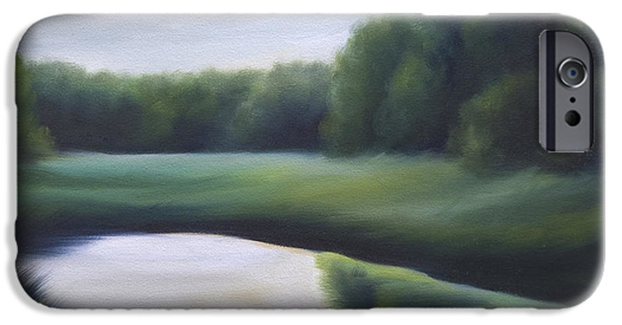 Nature; Lake; Sunset; Sunrise; Serene; Forest; Trees; Water; Ripples; Clearing; Lagoon; James Christopher Hill; Jameshillgallery.com; Foliage; Sky; Realism; Oils; Green; Tree IPhone 6 Case featuring the painting A Day In The Life 3 by James Christopher Hill