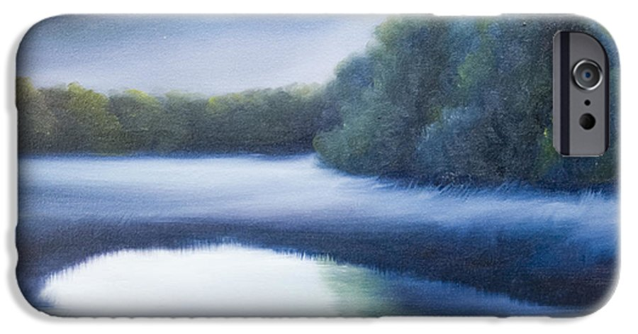 Nature; Lake; Sunset; Sunrise; Serene; Forest; Trees; Water; Ripples; Clearing; Lagoon; James Christopher Hill; Jameshillgallery.com; Foliage; Sky; Realism; Oils; Green; Tree; Blue; Pink; Pond; Lake IPhone 6 Case featuring the painting A Day In The Life 4 by James Christopher Hill
