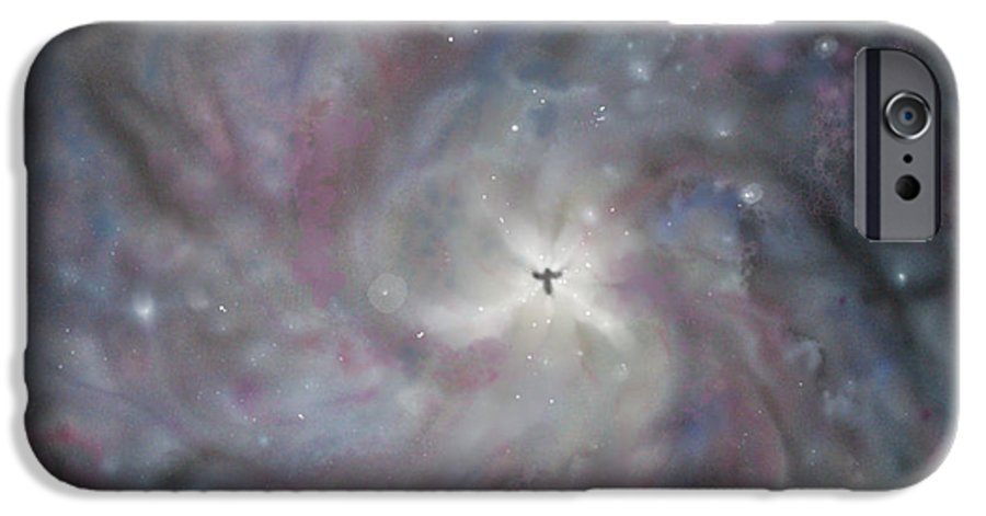 Space IPhone 6 Case featuring the painting A Galaxy Centre by Mike Moss