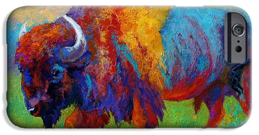 Wildlife IPhone 6 Case featuring the painting A Journey Still Unknown - Bison by Marion Rose