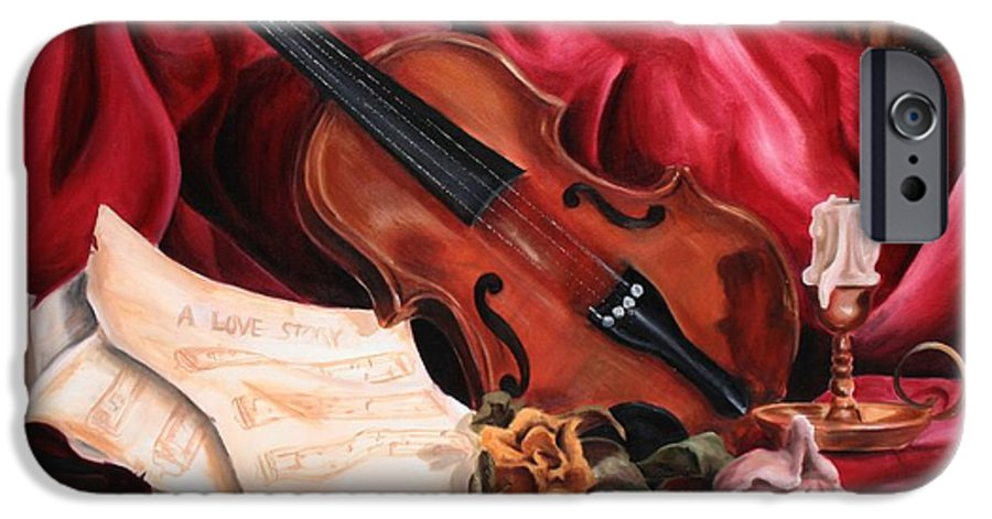 Violin IPhone 6 Case featuring the painting A Love Story by Maryn Crawford