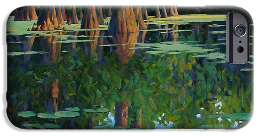 Swamp IPhone 6 Case featuring the painting A Patch Of Blue by Kevin Lawrence Leveque