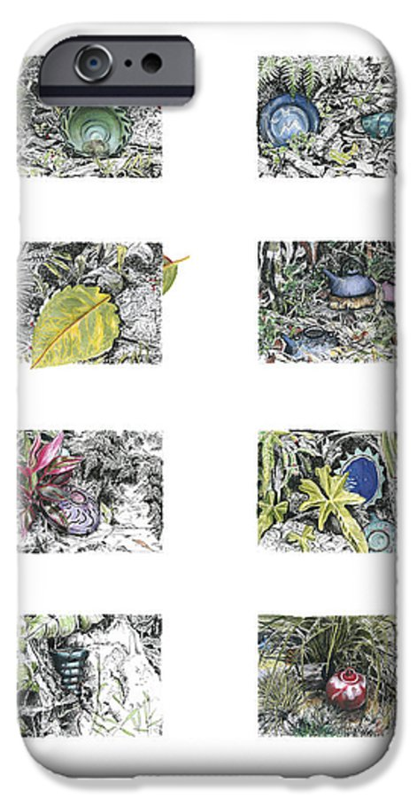 Tropical IPhone 6 Case featuring the drawing A Potters Garden by Kerryn Madsen-Pietsch