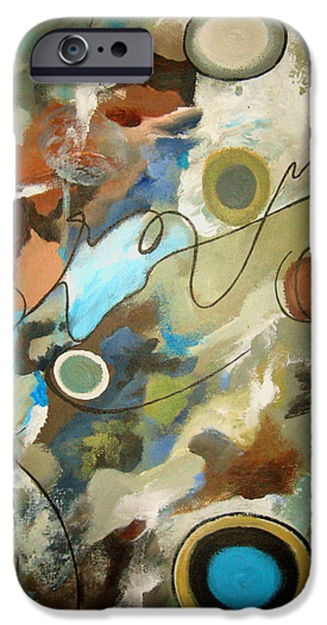 Abstract IPhone 6 Case featuring the painting A Rolling Stone Gathers No Moss by Ruth Palmer