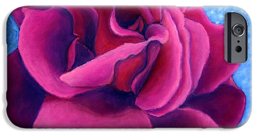 Rose. Pink Rose IPhone 6 Case featuring the painting A Rose Is A Rose.. by Minaz Jantz