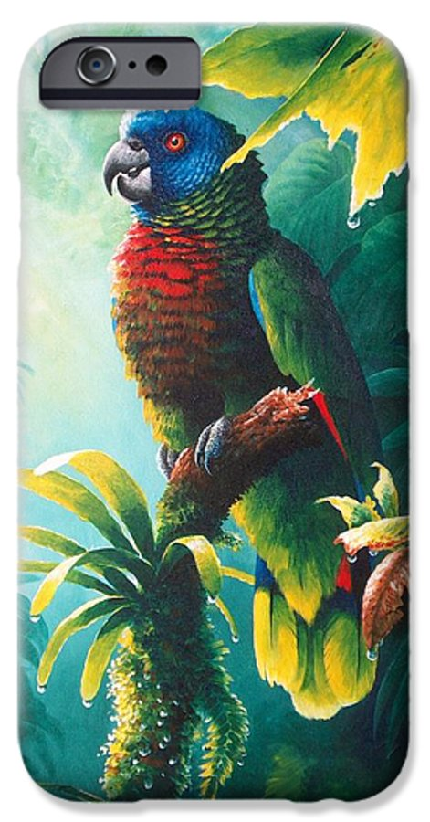 Chris Cox IPhone 6 Case featuring the painting A Shady Spot - St. Lucia Parrot by Christopher Cox