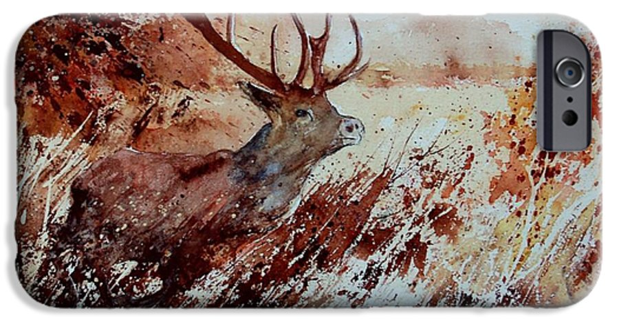 Animal IPhone 6 Case featuring the painting A Stag by Pol Ledent