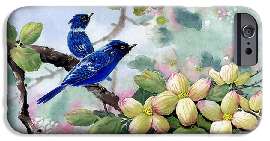 Blue Jays IPhone 6 Case featuring the painting A Touch Of Pink On White by Eileen Fong