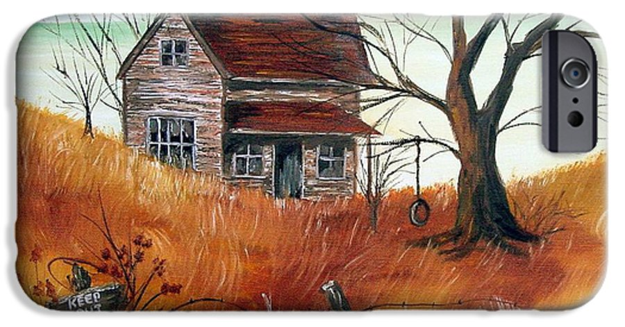 Landscape IPhone 6 Case featuring the painting Abandoned Farmhouse by Quwatha Valentine