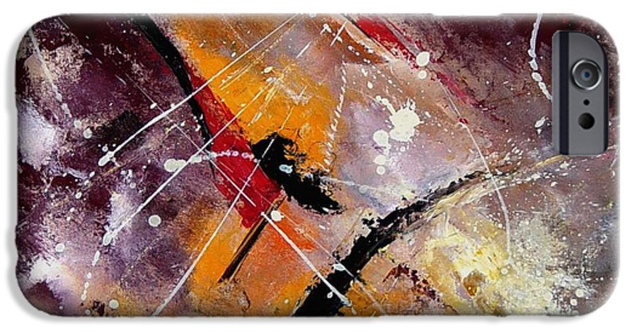 Abstract IPhone 6 Case featuring the painting Abstract 45 by Pol Ledent