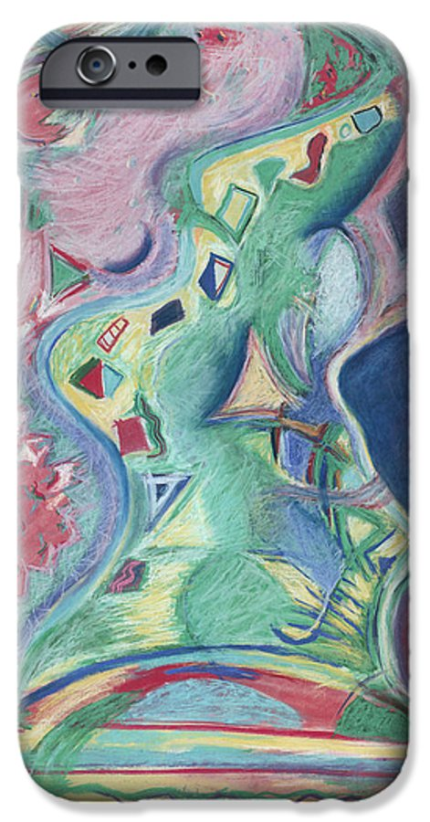 Abstract IPhone 6 Case featuring the painting Abstract 92 - Inner Landscape by Kerryn Madsen- Pietsch