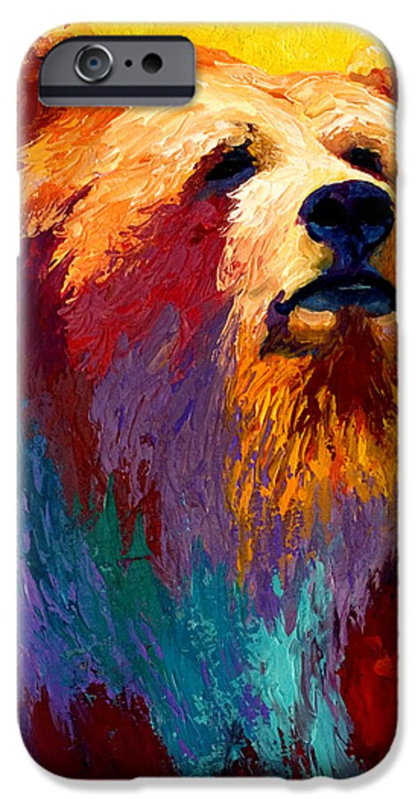 Western IPhone 6 Case featuring the painting Abstract Grizz by Marion Rose