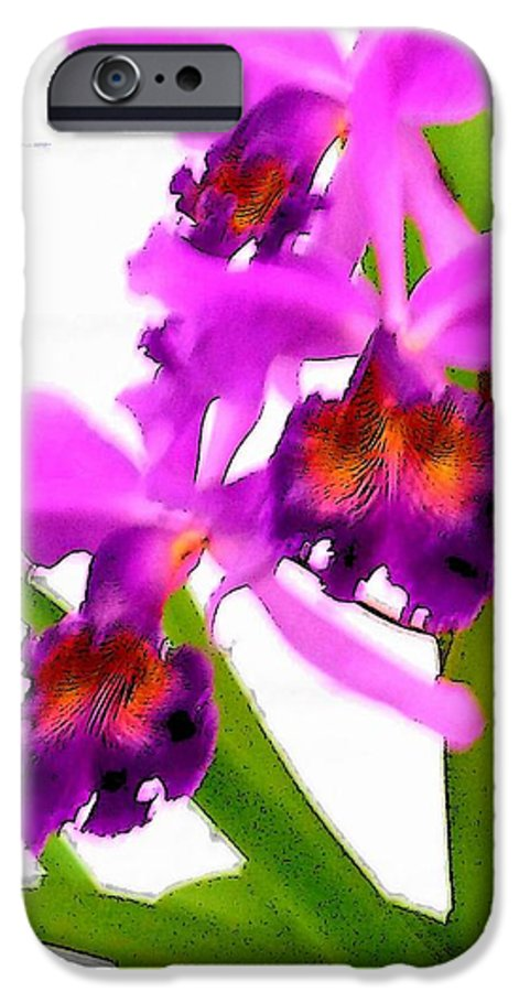 Flowers IPhone 6 Case featuring the digital art Abstract Iris by Anita Burgermeister