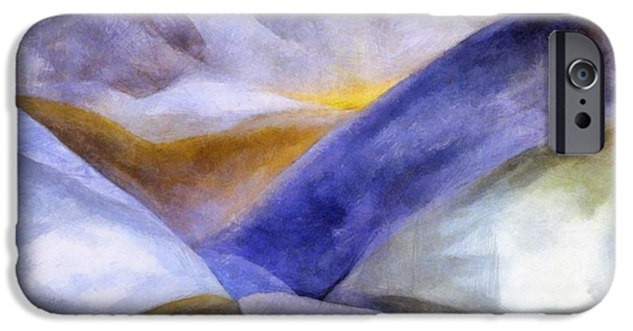 Blue IPhone 6 Case featuring the painting Abstract Mountain Landscape by Michelle Calkins