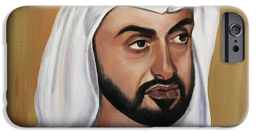 Abu Dhabi IPhone 6 Case featuring the painting Abu Dhabi Crown Prince by Fiona Jack