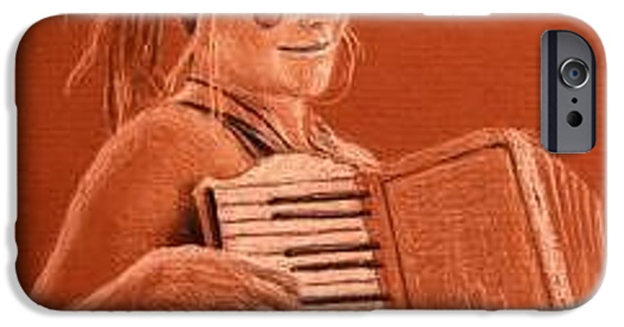 Accordion IPhone 6 Case featuring the drawing Accordion Girl by Michael Beckett