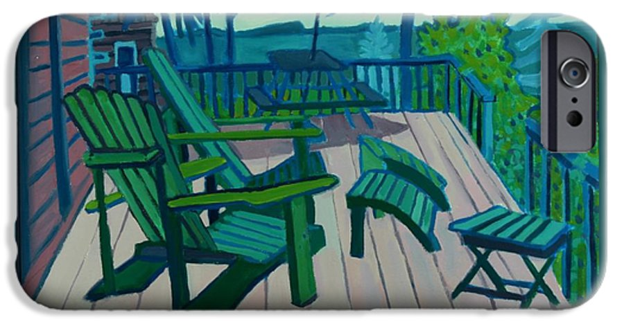 Ocean IPhone 6 Case featuring the painting Adirondack Chairs Maine by Debra Bretton Robinson